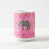 Pink Tribal Paisley Elephant Henna Pattern Coffee Mug