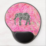 """Pink Tribal Paisley Elephant Henna Pattern Gel Mouse Pad<br><div class=""""desc"""">Pink Tribal Paisley Elephant Colorful Henna Pattern. A cool, ethnic black and white sketch of a wild elephant with abstract floral paisley pattern on a pink colorful tribal henna pattern with Boho Chic fashion colors, in pink, purple, white. Perfect gift for the wild animal lovers, fan of Mehndi style with...</div>"""