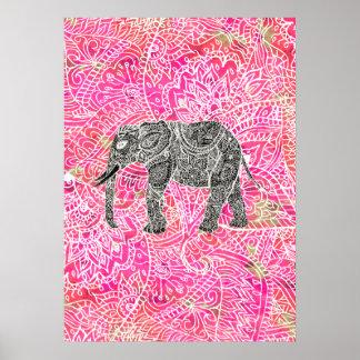 Pink Tribal Paisley Elephant Henna Pattern Poster