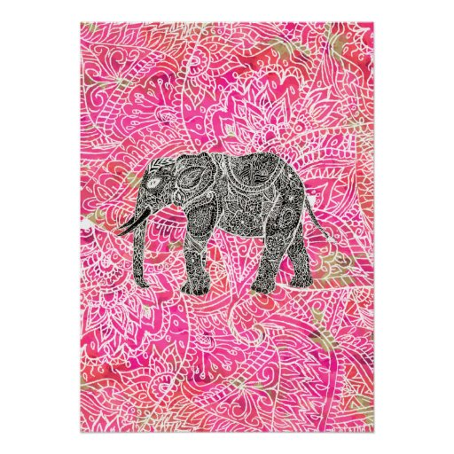 Pink Tribal Paisley Elephant Henna Pattern Posters