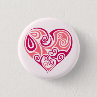 Pink tribal tattoo heart symbol girly love art button