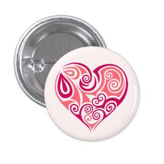 Pink tribal tattoo heart symbol girly love art button