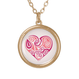 Pink tribal tattoo heart symbol girly love art gold plated necklace