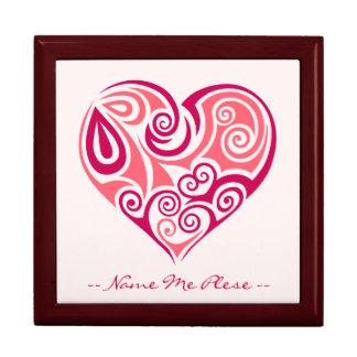 Pink tribal tattoo heart symbol girly love art keepsake box