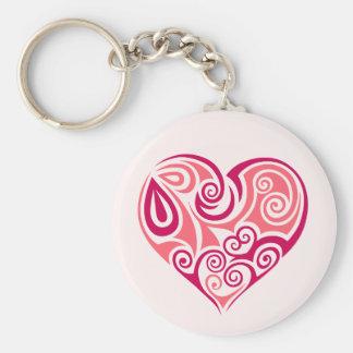 Pink tribal tattoo heart symbol girly love art keychain