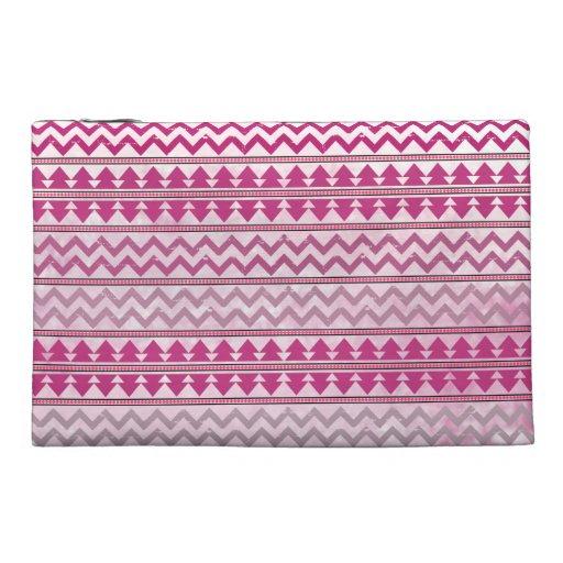 Pink Tribal Zigzag Travel Accessory Bag