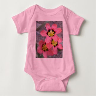 pink tricolored sparaxis flowers baby bodysuit