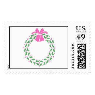 Pink Trim Wreath - Postage Stamp