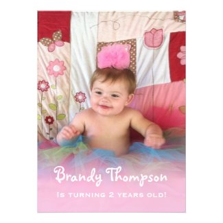 Pink Trimmed: Picture Birthday Party Invitation