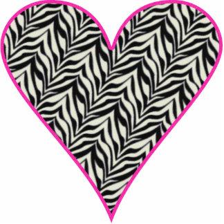 Pink Trimmed Zebra Heart Cutout