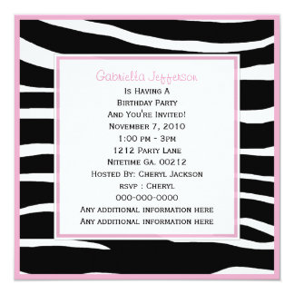 Pink Trimmed: Zebra Party Invitation