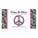 Pink Trimmed Zebra Peace Sign Business Card