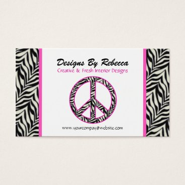 Professional Business Pink Trimmed Zebra Peace Sign Business Card