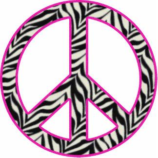 Pink Trimmed Zebra Peace Sign Statuette