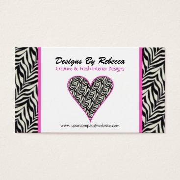 Professional Business Pink Trimmed Zebra Print Heart Business Card