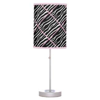 Pink Trimmed Zebra Print Lamp