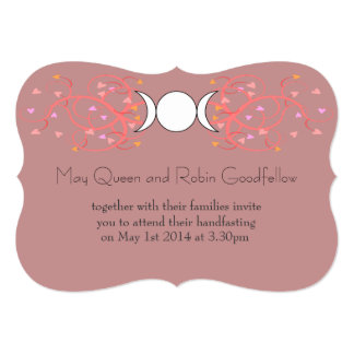 Pink Triple Goddess Wiccan Handfasting Invitation