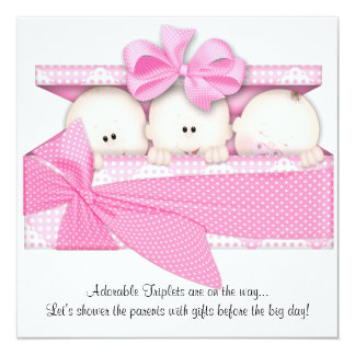Pink Triplet Baby Shower Invitation Announcement