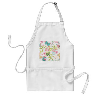 Pink Tropical Butterfly Floral Girly Flower Print Adult Apron