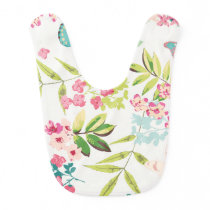 Pink Tropical Butterfly Floral Girly Flower Print Bib
