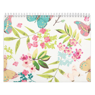Pink Tropical Butterfly Floral Girly Flower Print Calendar
