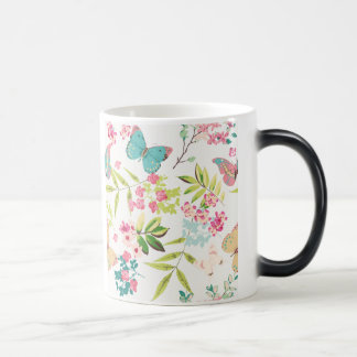 Pink Tropical Butterfly Floral Girly Flower Print Magic Mug