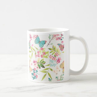 Pink Tropical Butterfly Floral Girly Flower Print Coffee Mugs