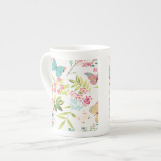 Pink Tropical Butterfly Floral Girly Flower Print Bone China Mugs
