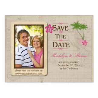 Pink Tropical Destination Photo Save The Date Postcard