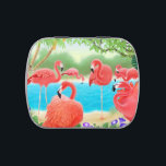 """Pink Tropical Flamingo Birds Candy Tin<br><div class=""""desc"""">Original fine art design of Caribbean pink flamingo birds by artist / designer Carolyn McFann of Two Purring Cats Studio printed on a quality and customizable candy tin filled with the candy of your choice. Great party favors for wedding,  bridal shower,  birthday,  anniversary,  travel or other themed parties!</div>"""