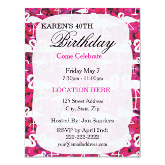"Pink tropical flamingo Birthday Party Invitations 4.25"" X 5.5"" Invitation Card"