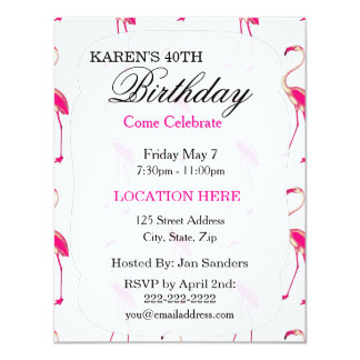 Pink tropical flamingo Birthday Party Invitations