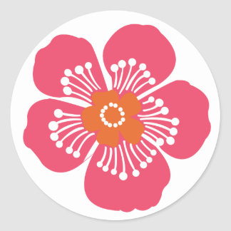 Pink Tropical Flower Classic Round Sticker