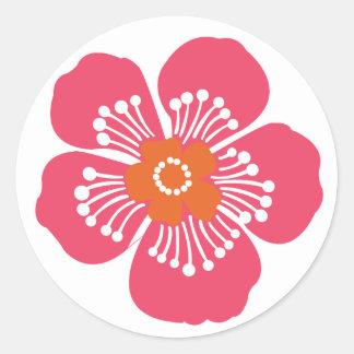 Pink Tropical Flower Classic Round Sticker