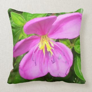 Pink Tropical Flower Pillow