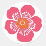 Pink Tropical Flower Round Sticker