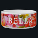 "Pink Tropical Flowers Pets Name Food Bowl<br><div class=""desc"">Beautiful tropical flowers,  custom dog or cat bowl with name.  Pretty pink and orange hibiscus and plumeria flowers with bold white lettering - use all caps as in the sample or lower case as you prefer.</div>"