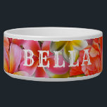 """Pink Tropical Flowers Pets Name Food Bowl<br><div class=""""desc"""">Beautiful tropical flowers,  custom dog or cat bowl with name.  Pretty pink and orange hibiscus and plumeria flowers with bold white lettering - use all caps as in the sample or lower case as you prefer.</div>"""