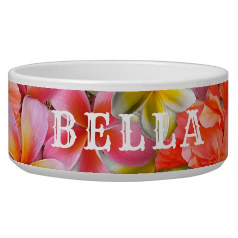 Pink Tropical Flowers Pets Name Food Bowl