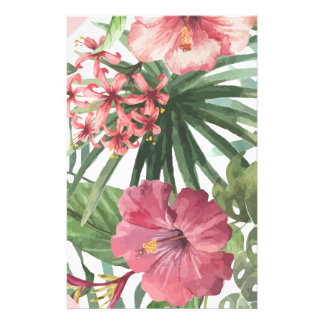 Pink Tropical Flowers Stationery