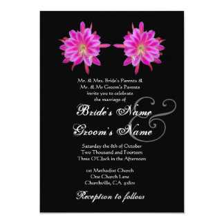 PINK Tropical Flowers Wedding Invitation