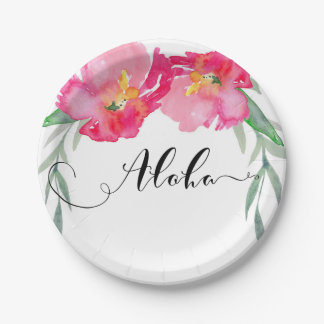 Pink Tropical Green Leaf Vine Floral Aloha Party Paper Plate