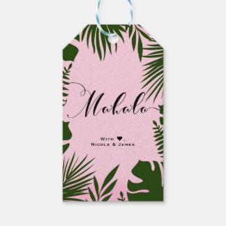 Pink Tropical Green Leaves Beach MAHALO ALOHA Gift Tags