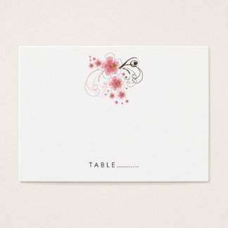Pink Tropical Hibiscus Beach Wedding Place Card