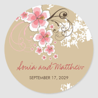 Pink Tropical Hibiscus Beach Wedding Stickers