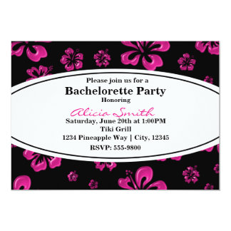 Pink Tropical Hibiscus Floral Black Invitation