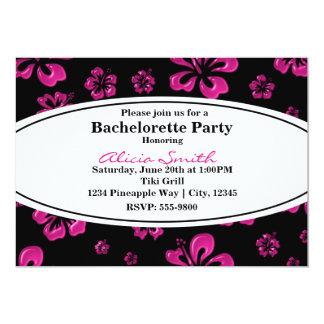 Pink Tropical Hibiscus Floral Black Invitation