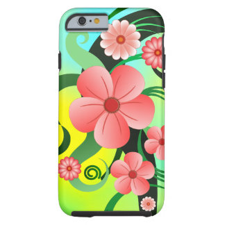 Pink Tropical Hibiscus Floral Tough iPhone 6 6S Tough iPhone 6 Case