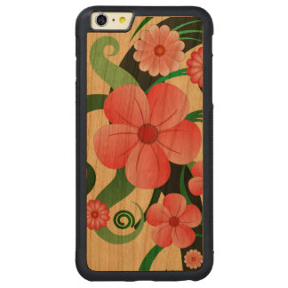 Pink Tropical Hibiscus Floral Wooden iPhone 6 6S Carved® Cherry iPhone 6 Plus Bumper Case