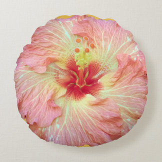 Pink Tropical Hibiscus Flower Pillow
